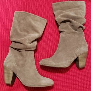 Suede mid-calf slouch boots